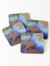 The wind scatters the golden leaves Coasters