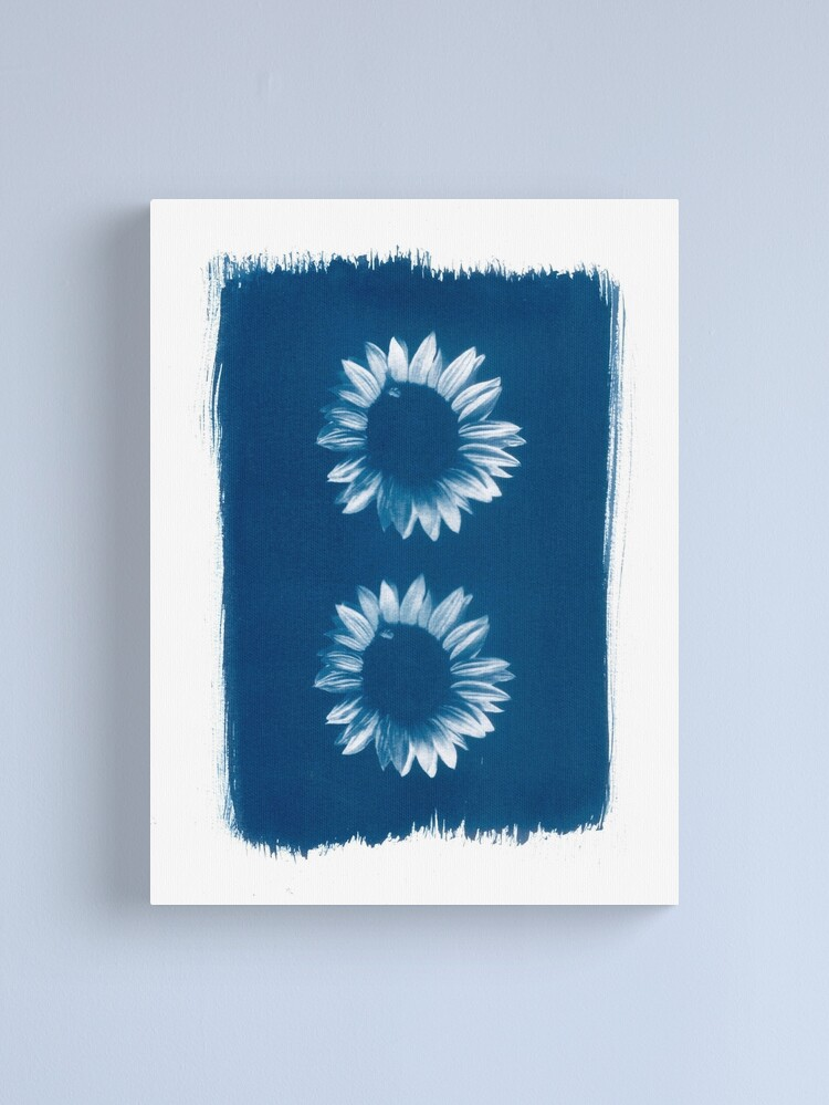 Alternate view of Two Sunflowers in Blue Cyanotype Print Canvas Print