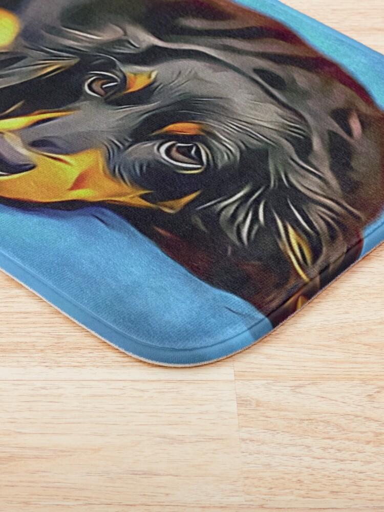Alternate view of Sleepy Long Haired Brown Dachshund Bath Mat