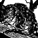 Australian Endangered Spotted-tail Quoll Lino Print by Heatherian