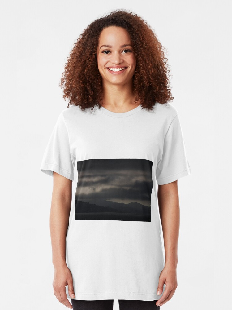 Alternate view of Dark Clouds over the San Francisco North Bay Slim Fit T-Shirt