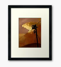 orange sky telephone wires Framed Print