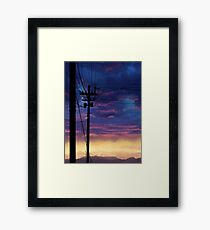 purple sky telephone wires Framed Print