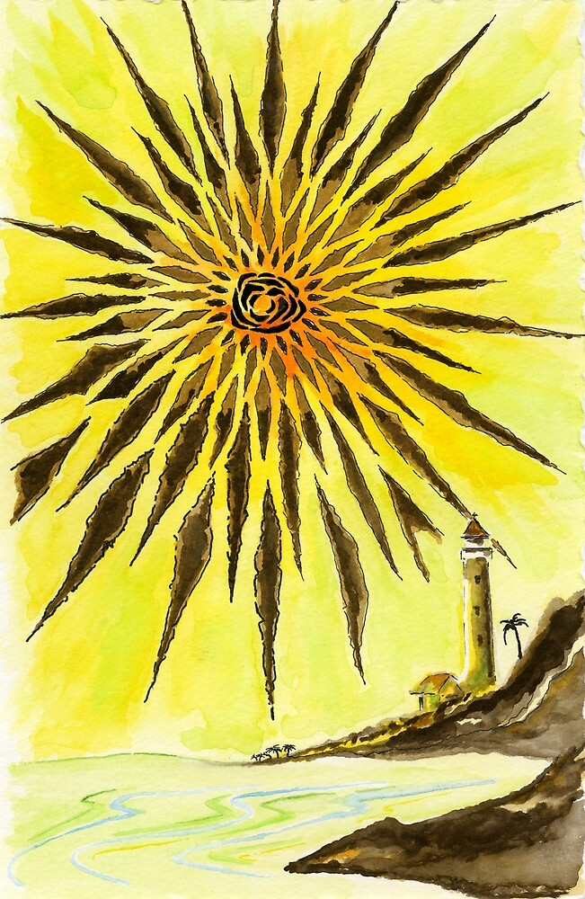 Diamond Head Lighthouse with Sunburst in Brown and Yellow by rob branson