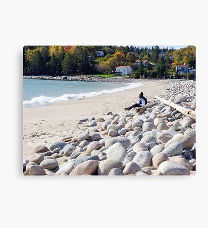 A Beach in Autumn Canvas Print