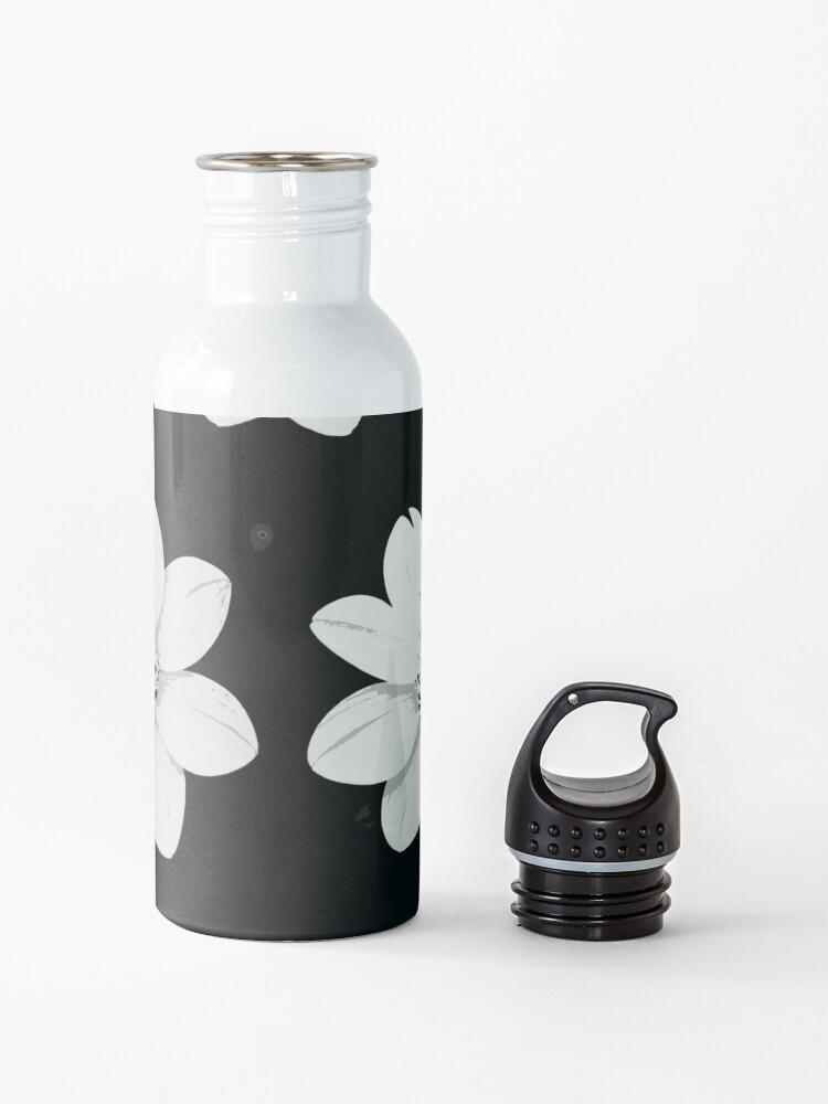 Alternative Ansicht von Weiß und Schwarz Blumen Trinkflasche