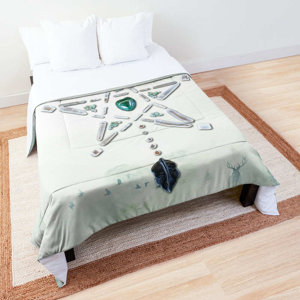 Malachite Crystal Grid - Natures Cycles Comforter