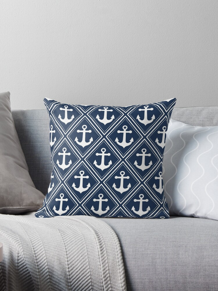 Navy and White Anchor Pattern by cikedo