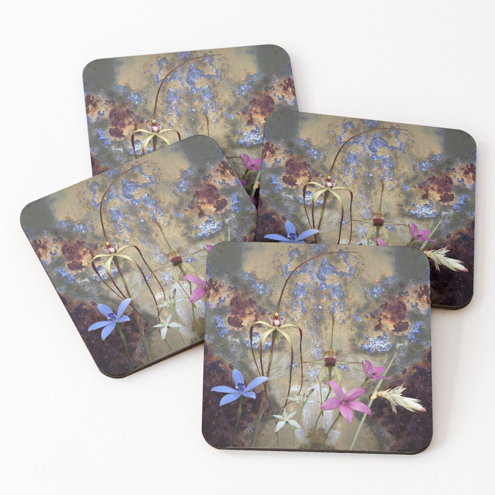 Silky Blue & Orchids with Blue Rusty Metal, native orchids of Western Australia. Coasters (Set of 4)