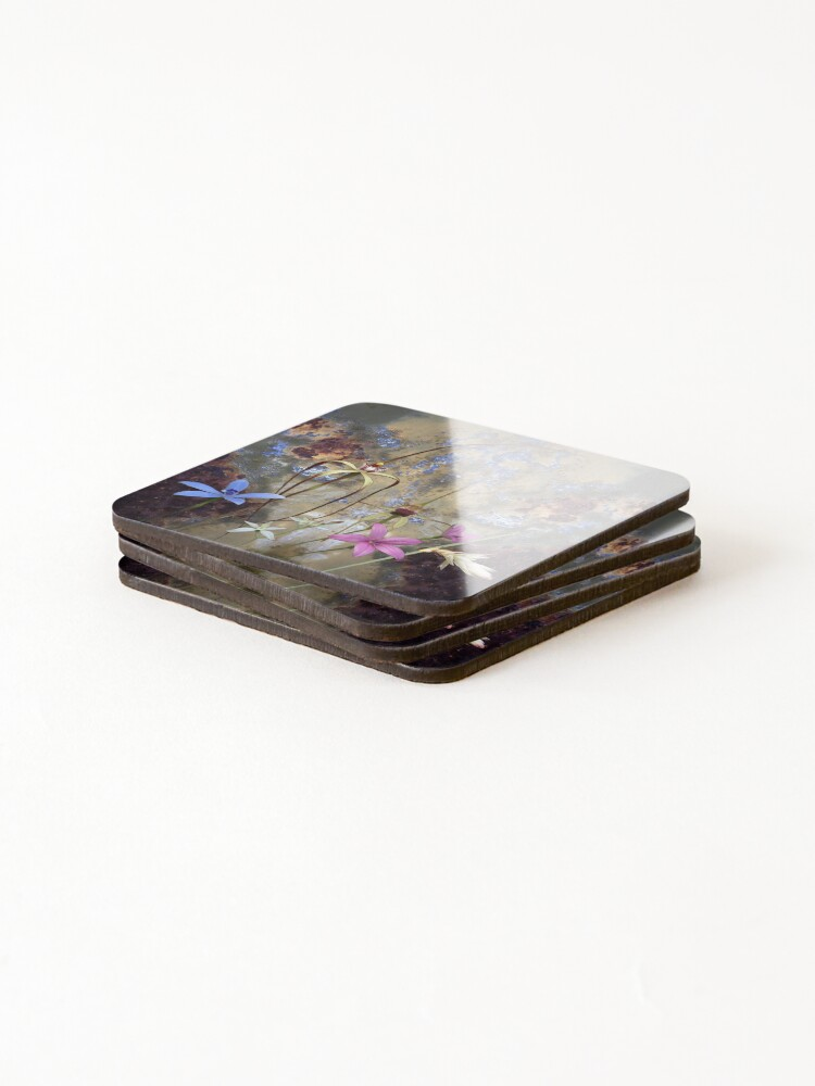 Alternate view of Silky Blue & Orchids with Blue Rusty Metal, native orchids of Western Australia. Coasters (Set of 4)