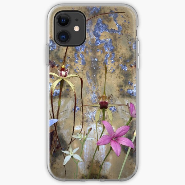 Silky Blue & Orchids with Blue Rusty Metal, native orchids of Western Australia. iPhone Soft Case