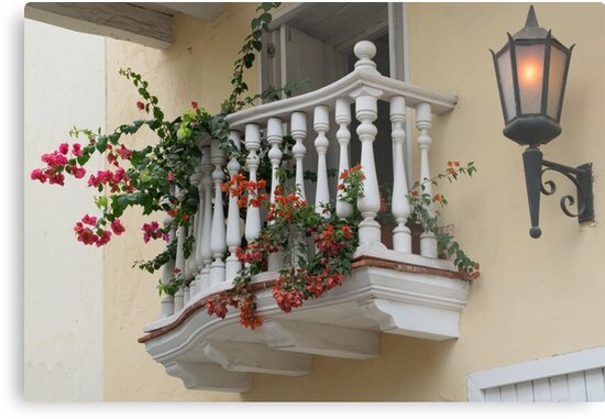 Charming Balcony in Cartagena, Colombia by Gerda Grice