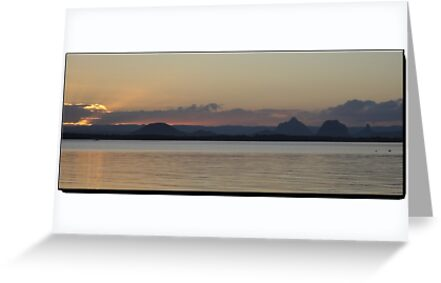 Bribie Island Sunset with Glass House Mountains by STHogan