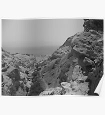 Rock formation with Dead Sea Poster