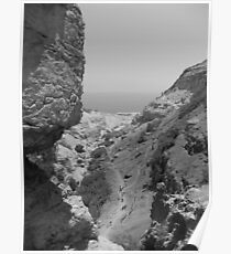 Rocks with Dead Sea in Background Poster
