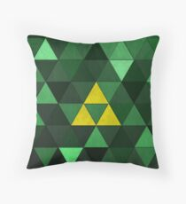 Triforce Quest (Green) Throw Pillow