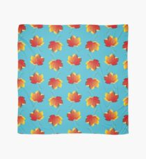 Autumn leaves red yellow on blue Scarf