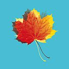 Autumn leaves red yellow on blue by VrijFormaat