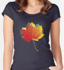 Autumn leaves red yellow on blue Fitted Scoop T-Shirt