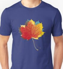 Autumn leaves red yellow on blue Slim Fit T-Shirt