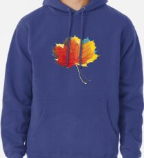 Autumn leaves red yellow on blue Pullover Hoodie