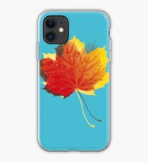 Autumn leaves red yellow on blue iPhone Case