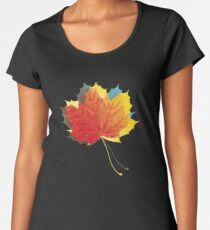 Autumn leaves red yellow on blue Premium Scoop T-Shirt