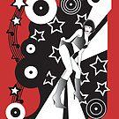 Retro Glam Discotheque Red by Jacqui Fae