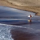 Wait for me - surfer at Piha, NZ by Jenny Dean
