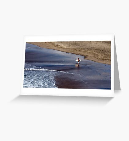 Wait for me - surfer at Piha, NZ Greeting Card