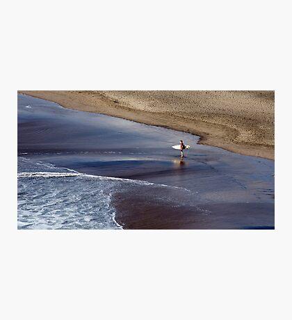 Wait for me - surfer at Piha, NZ Photographic Print