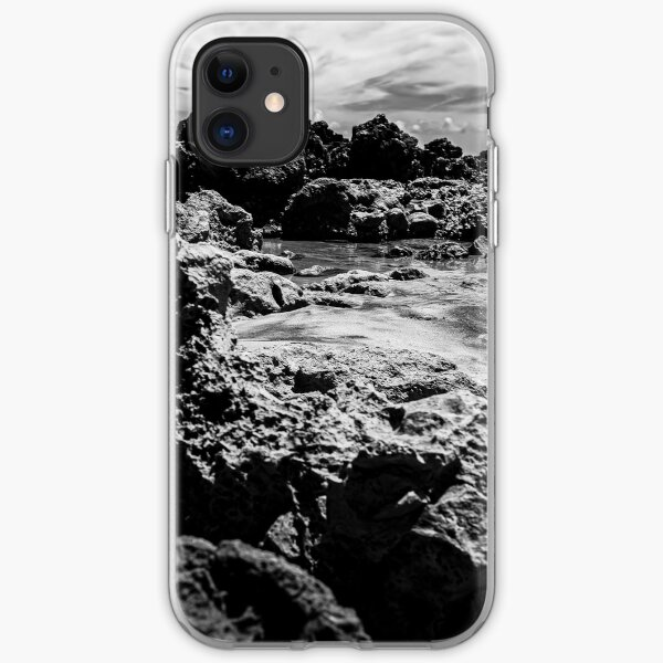 Landscape of sea rocks and sand. iPhone Soft Case