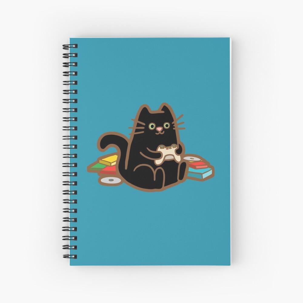 Gamer Cat in blue Spiral Notebook