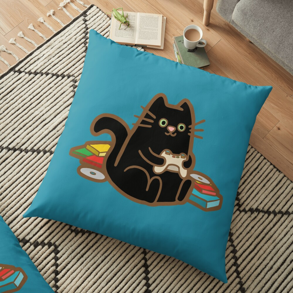 Gamer Cat in blue Floor Pillow
