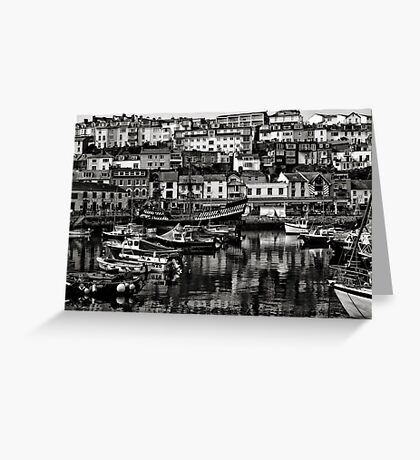 Brixham Harbour Mono Greeting Card