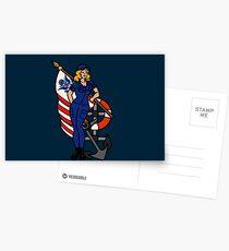 SJ Inspired Coast Guard Pinup 4 Postcards