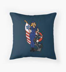 SJ Inspired Coast Guard Pinup 4 Throw Pillow