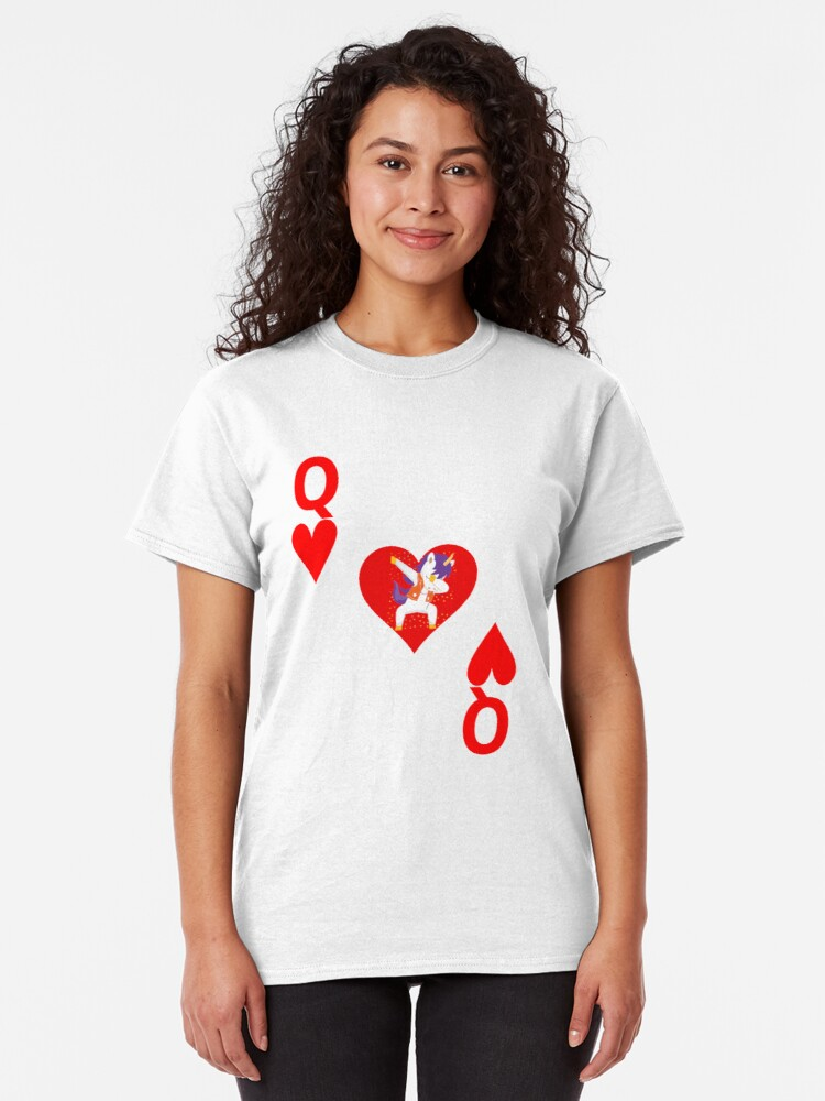 Alternate view of Unicorn Queen of Hearts, Deck of Cards, Dabbing Unicorn Costume. Classic T-Shirt