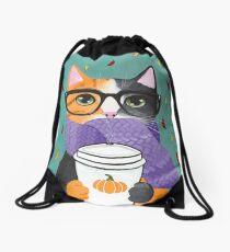 Calico Autumn Coffee Cat Drawstring Bag
