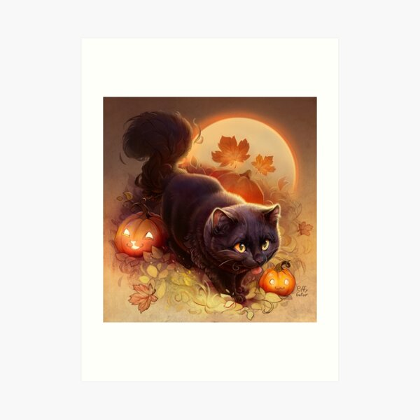 Halloween Kitty (Lit Version) Art Print