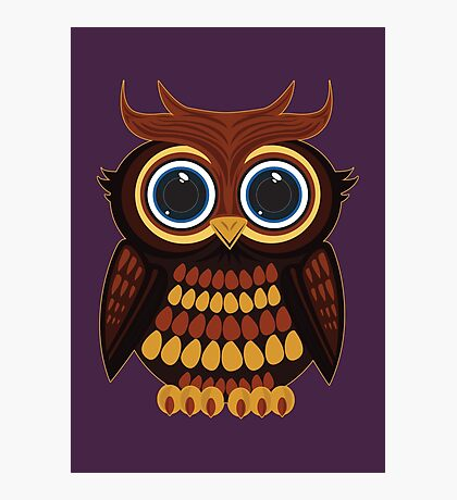 Friendly Owl - Purple Photographic Print