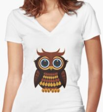 Friendly Owl - Dark Red Women's Fitted V-Neck T-Shirt