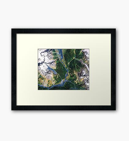 """""""Alaskan Spring"""" - The snow is receding and the valleys are greening. Framed Print"""