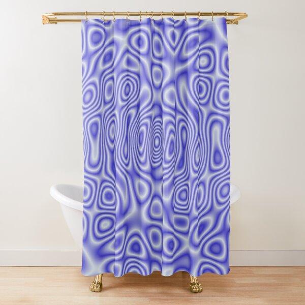 Blue Cosmic Liquid Pattern Shower Curtain