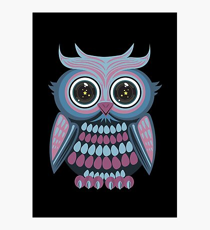 Star Eye Owl - Blue Purple 2 Photographic Print