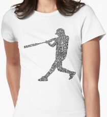 Softball Baseball Player Calligram Women's Fitted T-Shirt