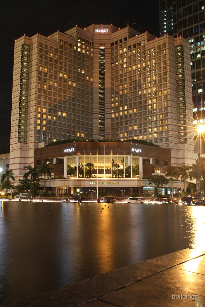 Hyatt Hotel, Jakarta (by night) by buildings