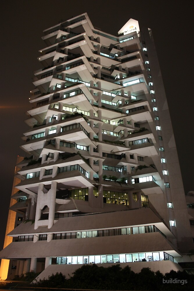 Intiland Tower (by night) by buildings