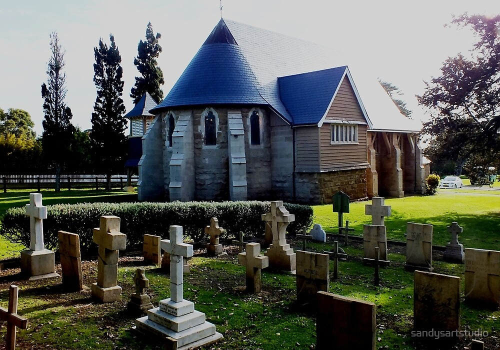 St Barnabas Church and Grave Yard Norfolk Island by sandysartstudio
