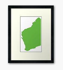 WA Western Australia map of the state  Framed Print